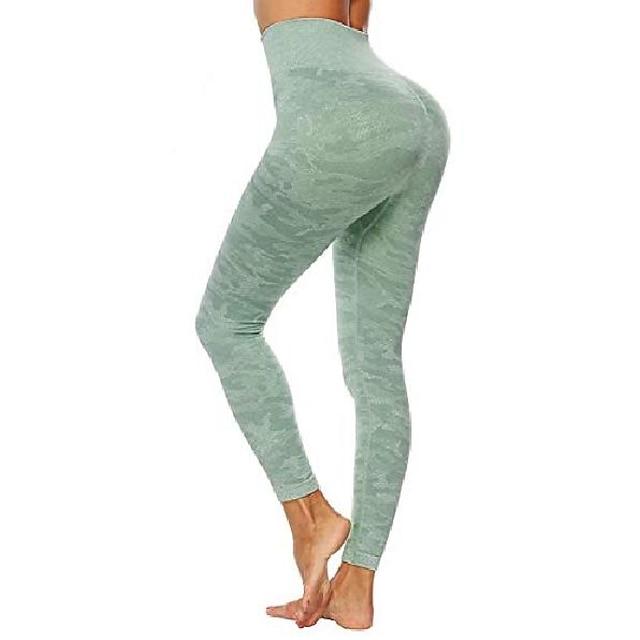여성용 하이 웨이스트 카모 원활한 레깅스 ruch butt lift tummy control yoga pants compression workout tights