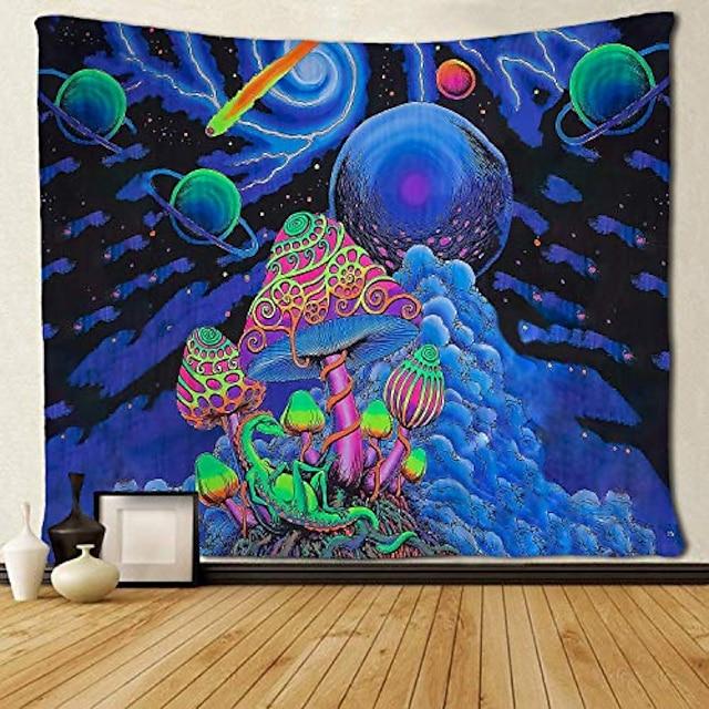 psychedelic soyut duvar halısı sanat dekor battaniye perde piknik masa örtüsü asılı ev yatak odası oturma odası yurt dekorasyon polyester arabesk mantar trippy dağ galaksi orman