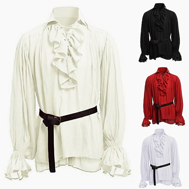 Knight Ritter Outlander Punk & Gothic Medieval Renaissance 17th Century Shirt Men's Costume White / Black / Red Vintage Cosplay Party