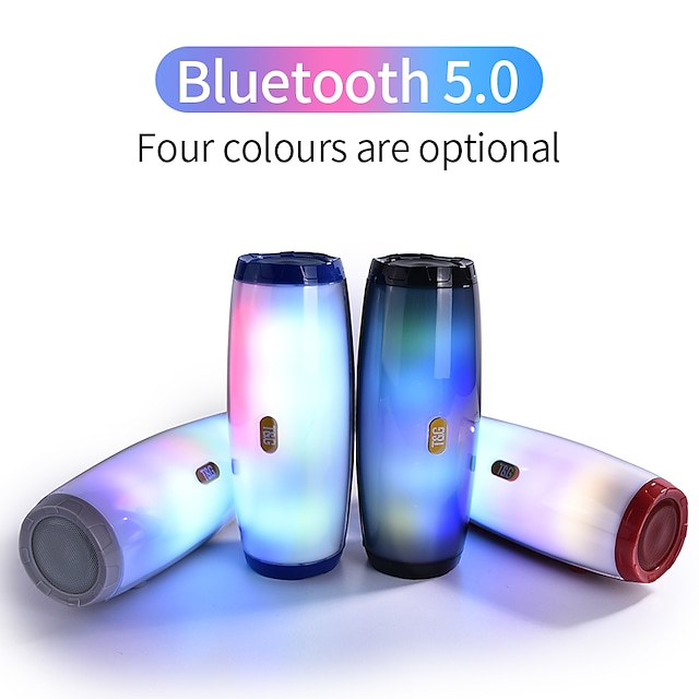 Portable Bluetooth Speaker Stereo Leather Column 5 Flash Style LED Subwoofer Wireless Outdoor Music Box FM Radio TF Card