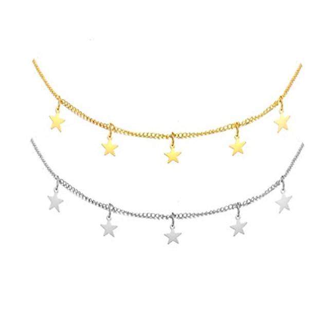 star choker necklace gold star necklace set for women choker necklace gift (3: 2pcs set)