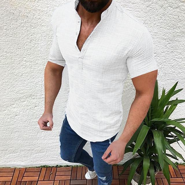Erkek Gömlek basılamayan Tek Renk Kısa Kollu Tatil Üstler Yuvarlak Yaka Açık Mavi Beyaz Siyah / Yaz