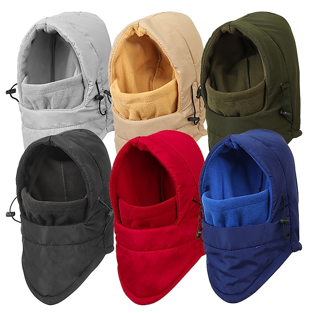 Women's Men's Hiking Hat Ski Mask Ski Hat Ski Balaclava Hat 1 PCS Winter Outdoor Portable Warm Soft Comfortable Hat Solid Color Fleece Cotton Black Red Army Green for Fishing Climbing Camping