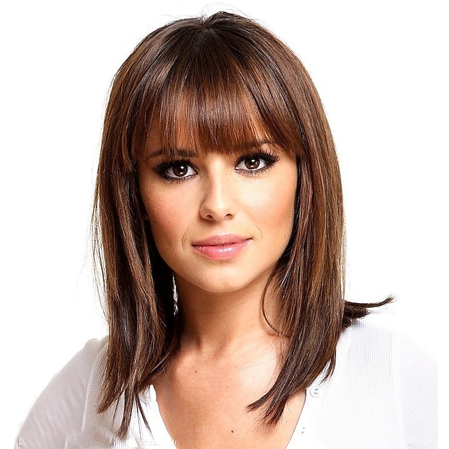 Mistura do cabelo humano Peruca Médio Reta natural Com Franjas Marrom Feminino Adorável Nova chegada Sem Touca Mulheres Ruivo Escuro