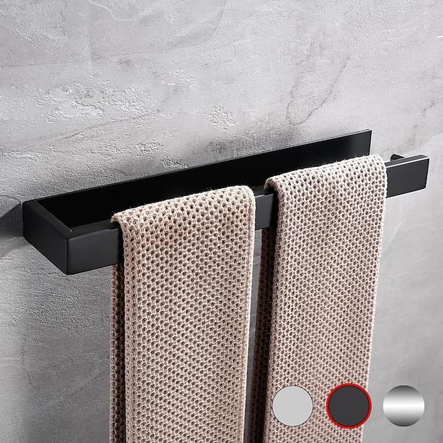 Portasciugamani da bagno - 304 in acciaio inox a barra singola nero opaco argentato a parete per bagno e cucina