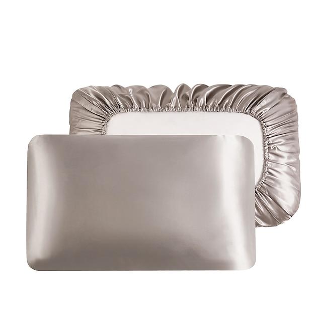 taie d'oreiller en satin de luxe pour cheveux taie d'oreiller en satin standard avec bande élastique, ensemble de taie d'oreiller de 2