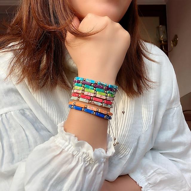 Women's Bead Bracelet Friendship Bracelet Loom Bracelet Fancy Fashion Birthday Vintage Theme Stylish Ethnic Colorful Fashion Cute Resin Bracelet Jewelry Blue / Purple / Red For Sport Date Birthday