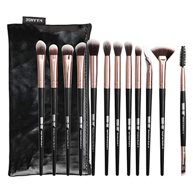 makeup brush sets, 12 pcs fan makeup brushes premium synthetic blending liquid fluffy cosmetic brushes for face concealer contour foundation eyeshadow eyeliner brow neck nose & # 40; and& #41;
