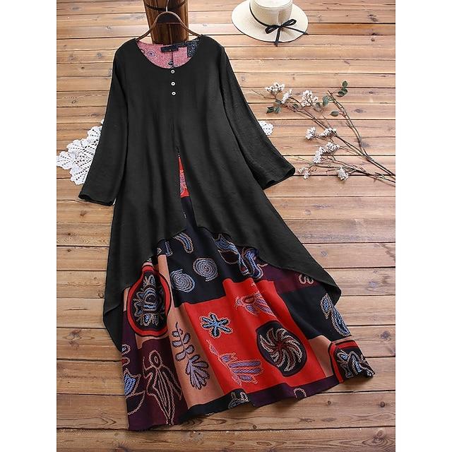robe trapèze grande taille pour femmes robe longue maxi noir orange patchwork imprimé à manches longues automne été col rond robes de vacances décontractées chaudes 2021 m l xl xxl 3xl 4xl 5xl