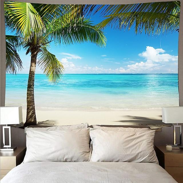 tapisserie murale art déco couverture rideau pique-nique nappe suspendue maison chambre salon dortoir décoration fibre de polyester série de plage cocotier mer bleue nuage blanc ciel bleu