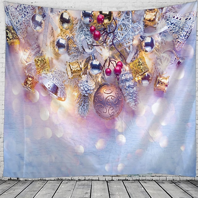 Christmas Wall Tapestry Art Decor Blanket Curtain Picnic Tablecloth Hanging Home Bedroom Living Room Dorm Decoration Polyester Gift Ball