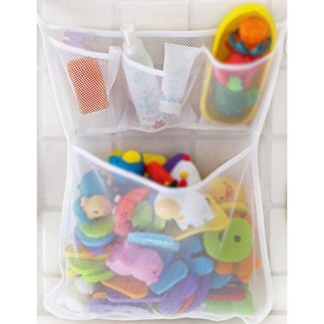 mesh bad legetøjsarrangør - mesh net bin - baby badekar spilholder med sug& klistermærke kroge toddler lege badeværelse opbevaringsbakke taske brusebad caddy - multi-use net poser gør baby bad