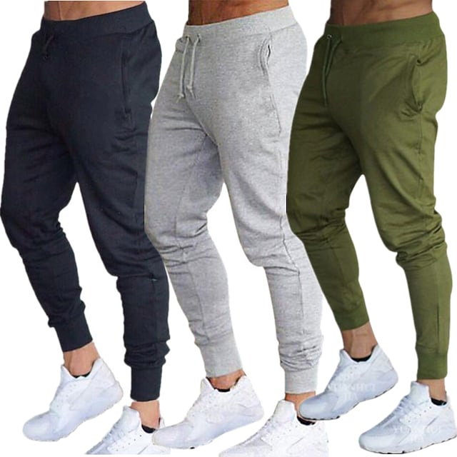 Men's Sweatpants Joggers Yoga Pants Side Pockets Elastic Waistband Thermal Warm Windproof Army Green Gray Burgundy Cotton Fitness Gym Workout Running Sports Activewear High Elasticity Slim