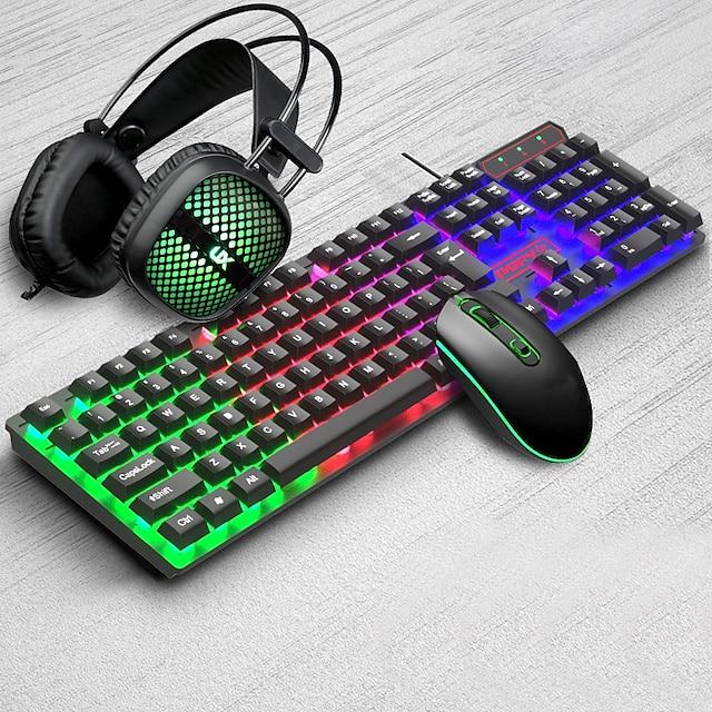 USB przewodowa klawiatura do gier, mysz i zestaw słuchawkowy 3 szt. tęczowe podświetlane słuchawki do oddychania