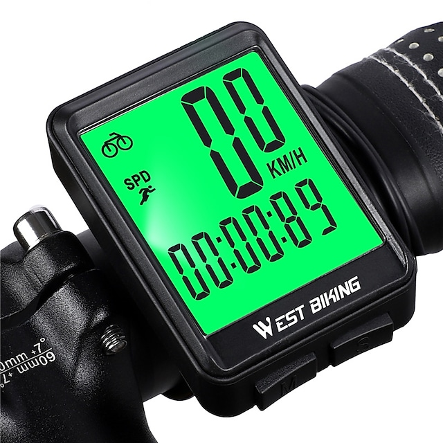 מחשב אופניים אלחוטי, מד מהירות אופניים עמיד למים ומד מרחק עם שעון עצר lcd& השכמה אוטומטית