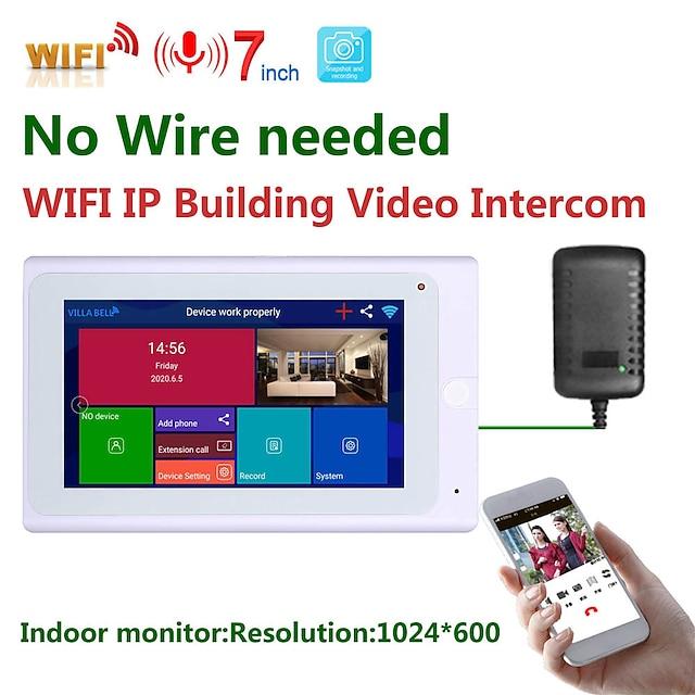 mountainone sy706w 7 inch wireless interior monitor wifi video doorbell intercom system 1080p ahd camera