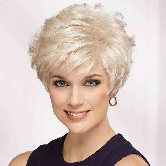 50% human hair & 50% high quality synthetic Wig Short Natural Straight Pixie Cut With Bangs Silver Blonde Women New Arrival Comfortable Capless Women's Brown Grey Medium Auburn#30 8 inch