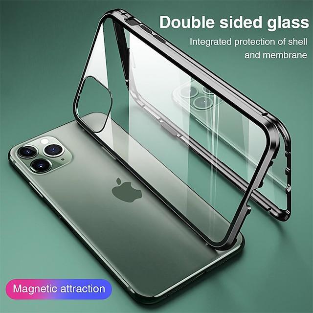 전화 케이스 제품 Apple 전체 바디 케이스 자기 흡착 케이스 아이폰 13 iPhone 12 Pro Max 11 SE 2020 X XR XS Max 8 7 iPhone 13 Pro Max 아이폰 13 미니 아이폰 13 프로 플립 마그네틱 양면 솔리드 강화 유리 메탈