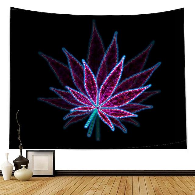 vägg tapet konst dekor filt gardin picknick duk hängande hem sovrum vardagsrum sovsal dekoration polyester modern lila lönnlöv