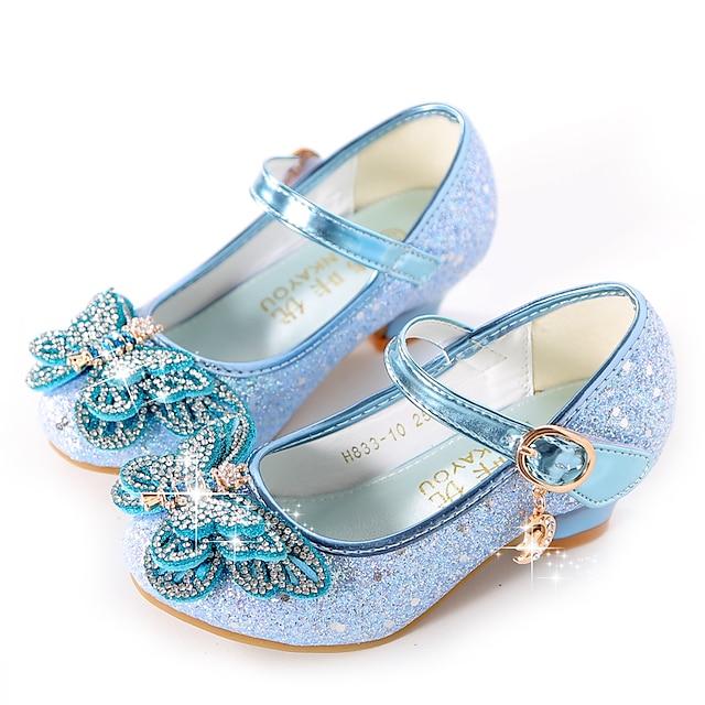 เด็กผู้หญิง รองเท้าส้นสูง แตะ รองเท้าสาวดอกไม้ รองเท้าเจ้าหญิง ยาง PU เด็กน้อย (4-7ys) เด็กโต (7 ปีขึ้นไป) ทุกวัน พรรคและเย็น วสำหรับเดิน หินประกาย หัวเข็มขัด เลื่อม สีม่วง ฟ้า สีชมพู ตก ฤดูใบไม้ผลิ