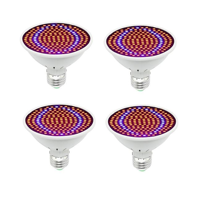 4pcs LED phyto hydroponique élèvent la lumière E27 200 LED élèvent l'ampoule spectre complet 85-265V lampe plante système de semis de fleurs
