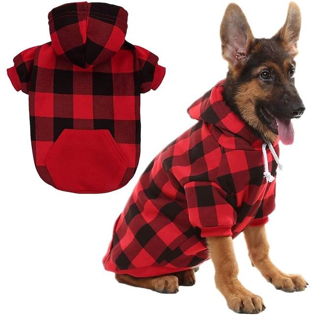 Prodotti per cani Prodotti per gatti Maglioni Felpe con cappuccio A quadri Classico Natale Casual / quotidiano Inverno Abbigliamento per cani Vestiti del cucciolo Abiti per cani Caldo Blu Rosso