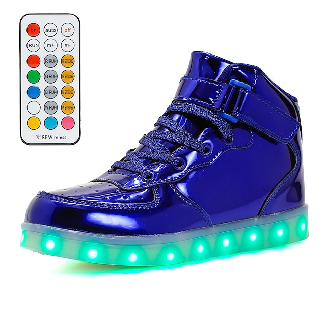 Boys' Girls' Sneakers LED Shoes USB Charging Flashing Shoes PU Little Kids(4-7ys) Big Kids(7years +) Daily Walking Shoes LED Pink Gold Dark Blue Fall Winter