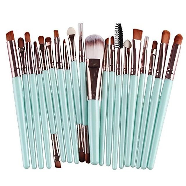 20 pcs makeup brush set tools make-up toiletry kit wool make up brush set& #40;coffee& #41;