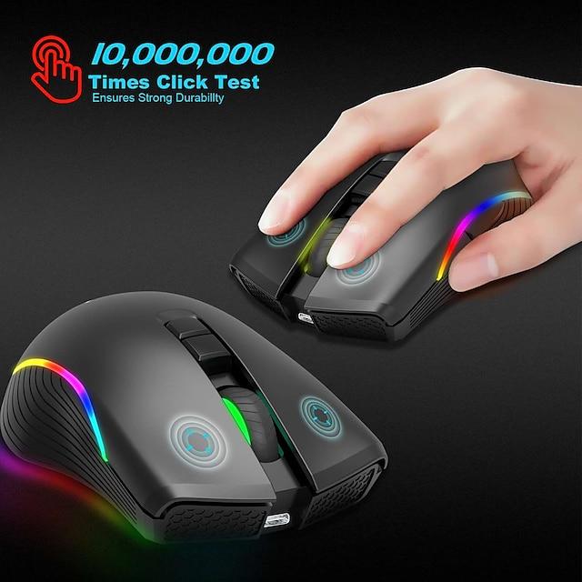 ZERODATE T2 Wireless 2.4G Gaming Mouse Office Mouse Led Light 2400 Dpi 3 Adjustable DPI Levels 7 Programmable Keys