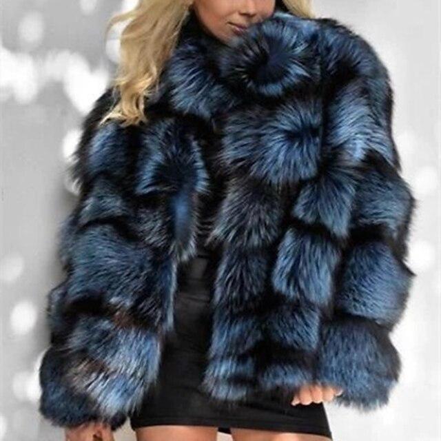 Per donna Cappotto di pelliccia sintetica Quotidiano Autunno inverno Standard Cappotto Standard Attivo Giacca Manica lunga Tinta unita Blu