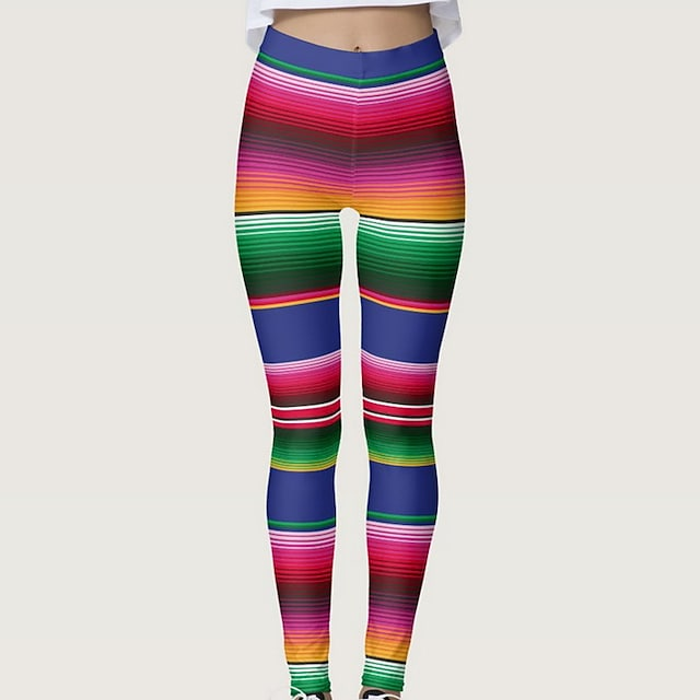 Women's High Waist Yoga Pants Tights Leggings Tummy Control Butt Lift Breathable Rainbow Spandex Yoga Fitness Gym Workout Winter Sports Activewear Stretchy