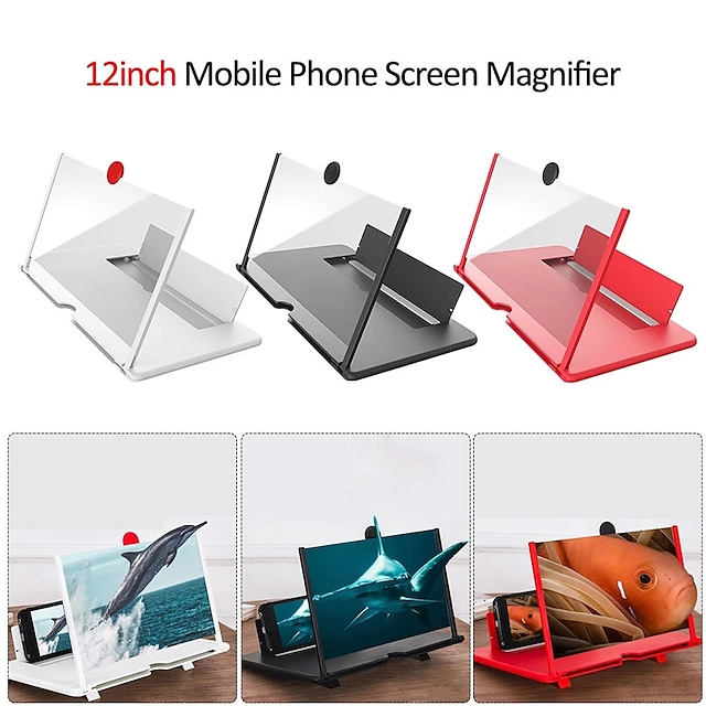 New 12 inch 3D Mobile Phone Screen Magnifier HD Video Amplifier with Foldable Holder Magnifying Glass Smart Phone Stand Bracket