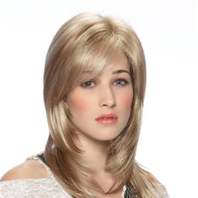 synthetische pruik recht asymmetrisch met pony pruik blond halflang blond synthetisch haar modieus design dames klassiek exquise blond
