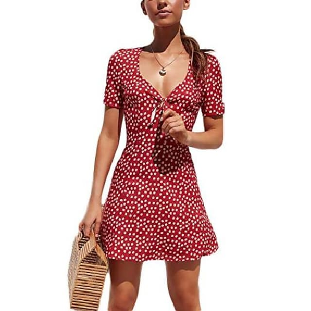 Women's A Line Dress Short Mini Dress Navy Yellow Green Red Short Sleeve Polka Dot Summer V Neck Casual Beach Boho 2021 S M L XL