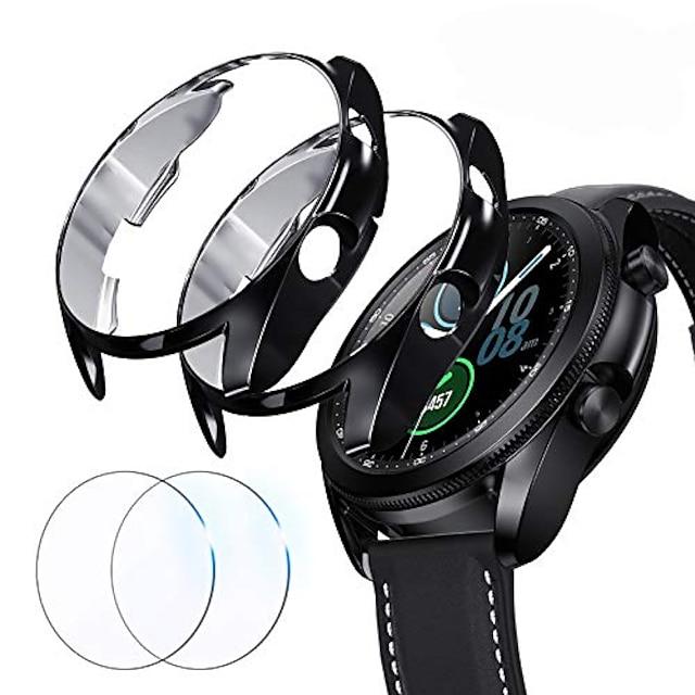 compatibel voor Samsung Galaxy Watch 3 45 mm schermbeschermer, 2 packs schokbestendige bumpercovers en volledige dekking schermbeschermer voor Galaxy Watch 3 (zwart + zwart, 45 mm)