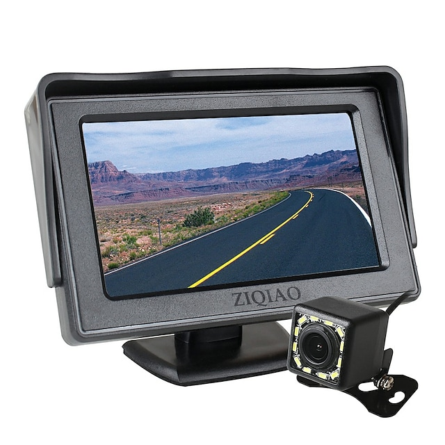 ZIQIAO 4.3 Inch TFT LCD Screen Car Monitor Auxiliary Parking  12 LED Light Night Vision Rear View Camera