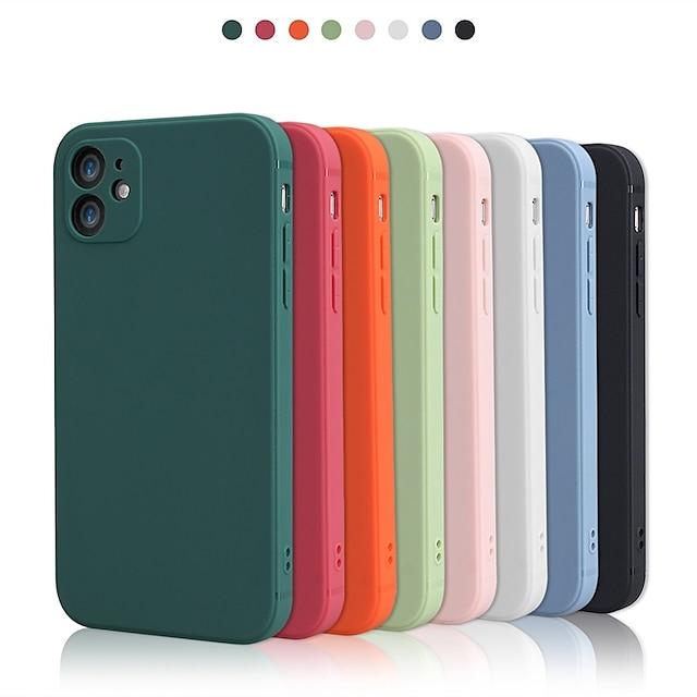 telefon Etui Til Apple Bagcover Silikone etui iPhone 12 Pro Max 11 SE 2020 X XR XS Max 8 7 Stødsikker Beskyttelse af kameralinser Helfarve TPU