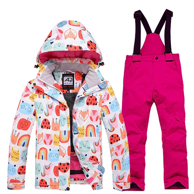 Boys' Ski Jacket with Bib Pants Waterproof Windproof Warm Breathable Winter Clothing Suit for Skiing Snowboarding Winter Sports / Girls' / Kids