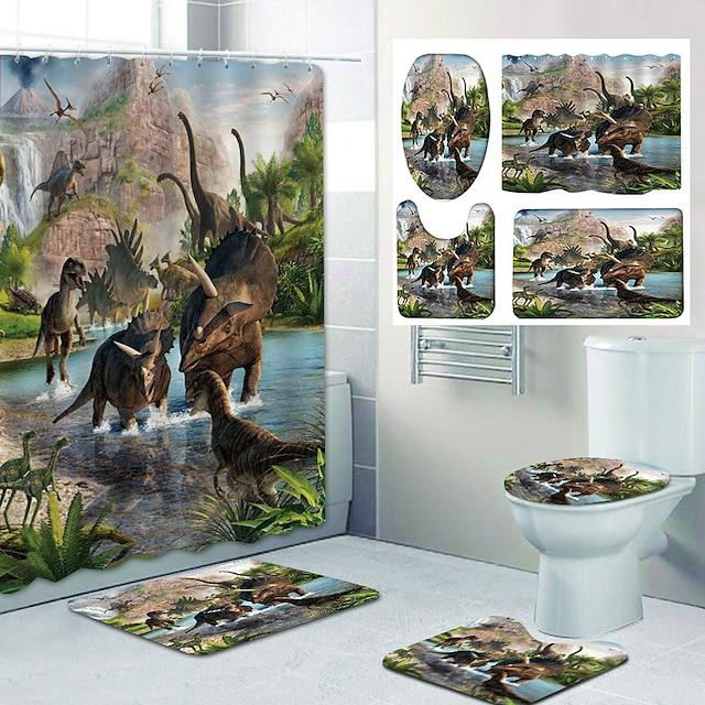 Dinosaur Battle Pattern PrintingBathroom Shower Curtain Leisure Toilet Four-Piece Design
