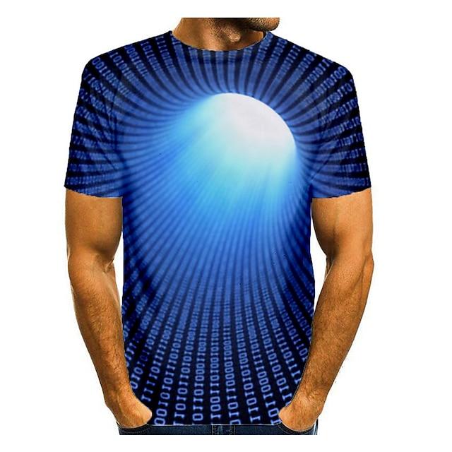 Homme T-shirt Impression 3D Graphique Abstrait 3D Grandes Tailles Imprimé Manches Courtes Quotidien Hauts Noir Bleu Rouge