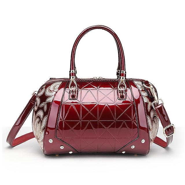Women's Bags PU Leather Satchel Top Handle Bag Beading Sequin Daily 2021 Handbags Wine Black Red Dark Blue