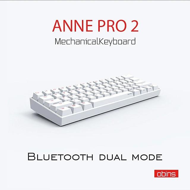 [Gateron Switch]Anne Pro 2 61 Keys Mechanical Gaming Keyboard 60% NKRO bluetooth 4.0 Type-C RGB Keyboard