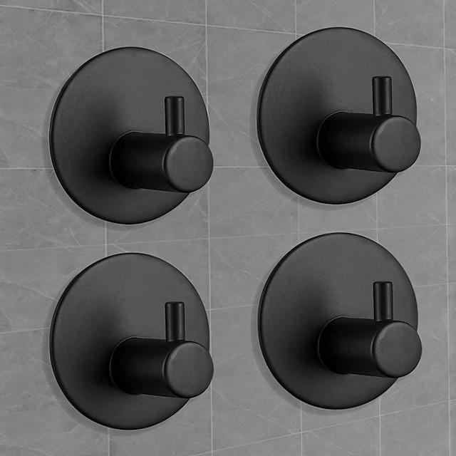 خطافات ذاتية اللصق ، رداء حمام للمطبخ شديد التحمل ، خطافات سوداء ، حامل مناشف خطاف حائط لاصق ، خطافات مناشف حمام - 4 عبوات (أسود غير لامع)