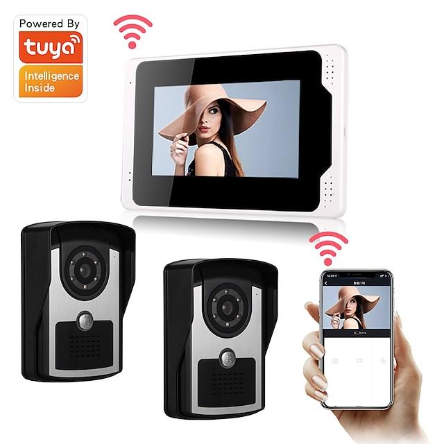 WIFI / Wired Tuya Smartlife 1080P HD Camrea 7inch Monitor Video door bell Visual Intercom Rainproof Door Camera PIR Motion Detector