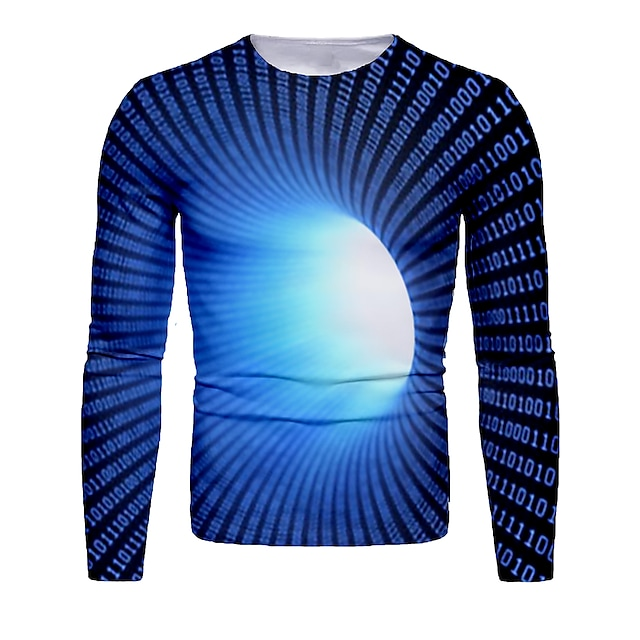 Men's T shirt 3D Print Graphic Abstract 3D Print Long Sleeve Daily Tops Black Blue Red