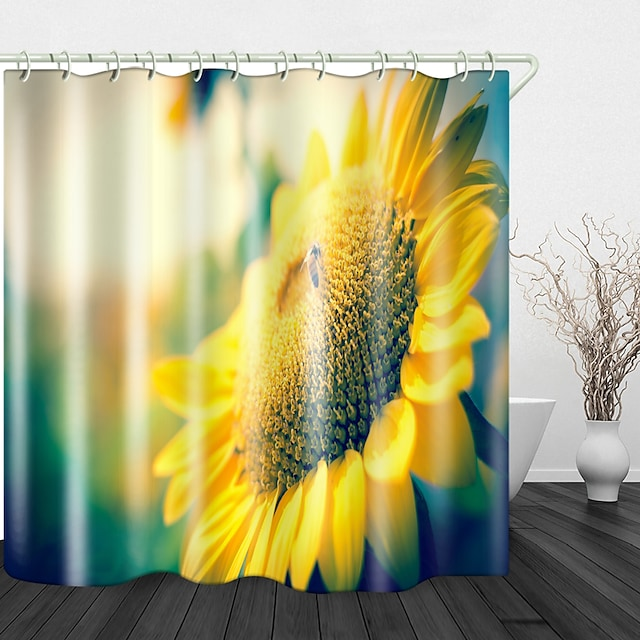 Small Honey Sunflower Digital Printing Shower Curtain Shower Curtains  Hooks Modern Polyester New Design