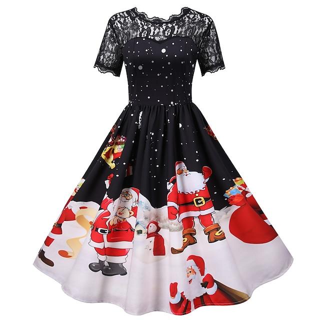 산타 클로스 크리스마스 드레스 여성용 어른' 레져 크리스마스 크리스마스 폴리 에스터 드레스
