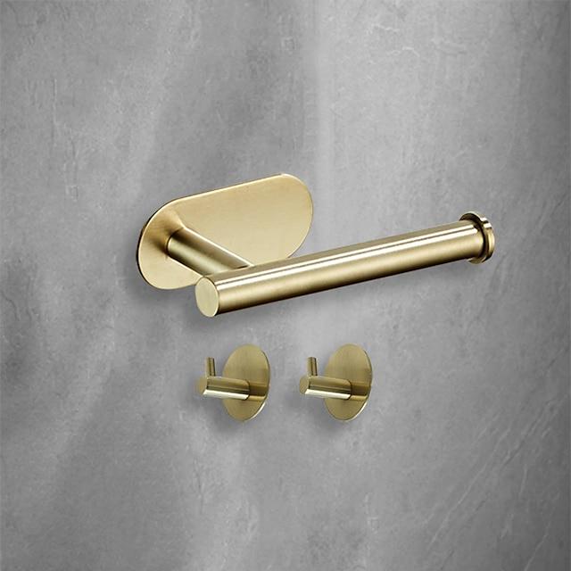 3 adet banyo donanım seti 3m güçlü viskozite yapıştırıcı banyo aksesuarları duvara monte havlu askısı doku tutacağı yüksek mukavemetli tırnaksız paslanmaz çelik mat siyah fırçalanmış altın