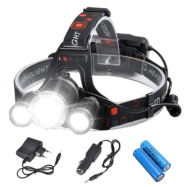 Boruit® RJ-3000 Lampes Frontales Phare Avant de Moto Torche Fonction Zoom Rechargeable 3000/5000 lm LED 3 Émetteurs 4.0 Mode d'Eclairage avec Piles et Chargeurs Fonction Zoom Rechargeable Tête