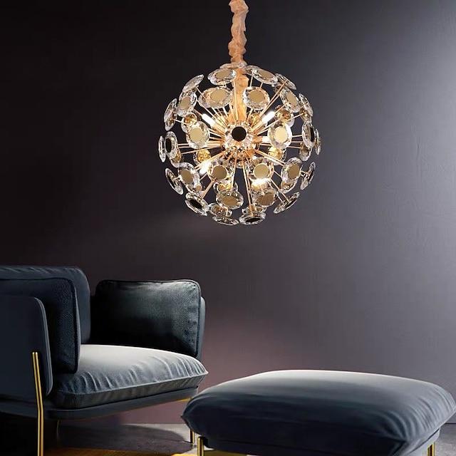 50 cm LED Crystal Chandelier Dimmable Gold Globe Desgin Pendant Light Modern Metal Electroplated 110-120V 220-240V
